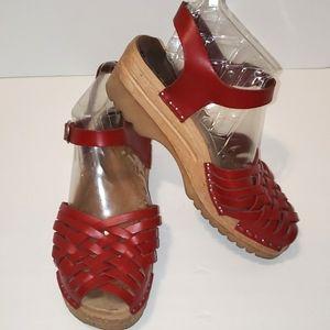 TROENTORP Anna Braided Wooden Clog Sandals size 39